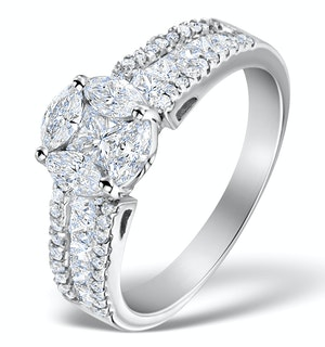 Engagement Ring Galileo 1.50ct Look SI Diamonds  18K White Gold N4489