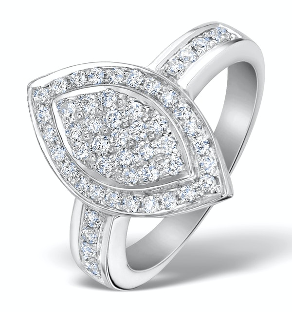 Oval Shaped Diamond 0.50ct And 18K White Gold Pave Ring - image 1