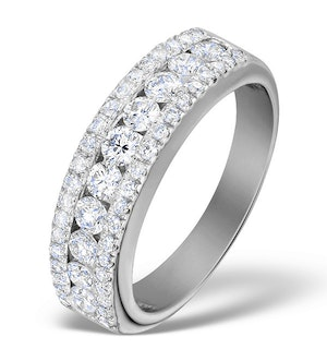Diamond 1.00ct And Platinum Half Eternity Ring - S3478