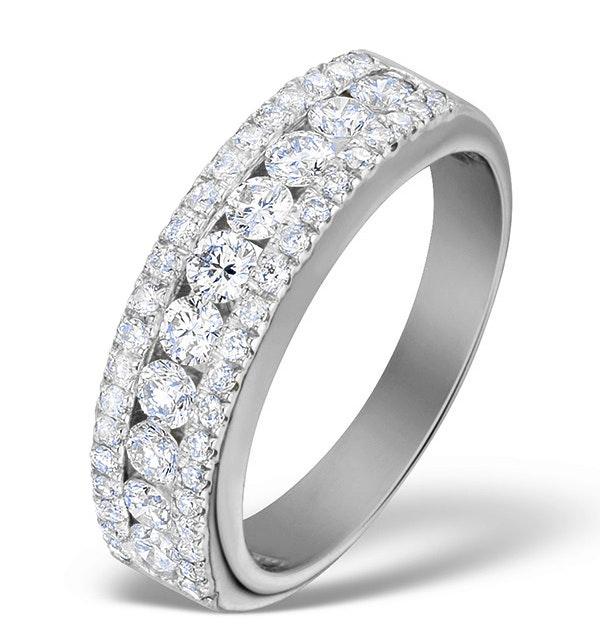 Diamond 1.00ct And Platinum Half Eternity Ring - S3478 - image 1