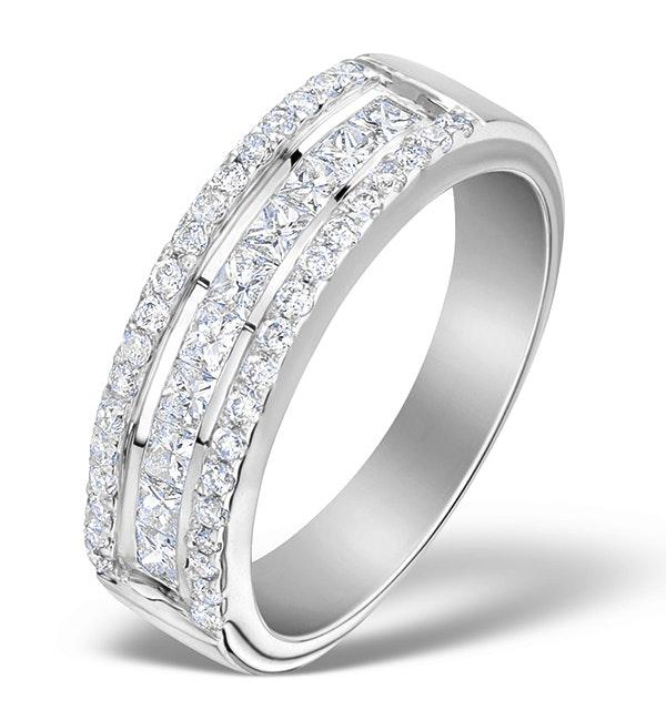 3 Row Diamond 1.00ct And Platinum Half Eternity Ring - image 1