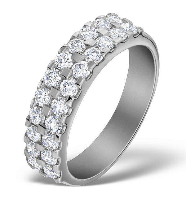 Diamond 1.00ct And Platinum Half Eternity Ring - S3470 - image 1