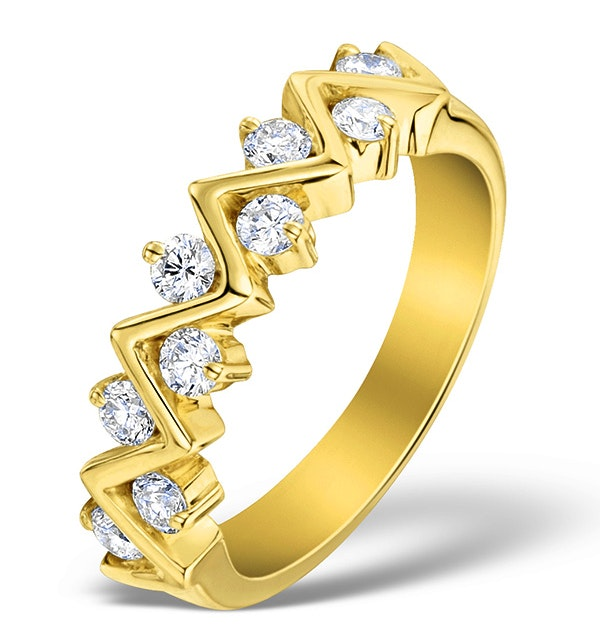 Diamond 0.50ct And 18K Gold Half Eternity Ring - N4498 - image 1