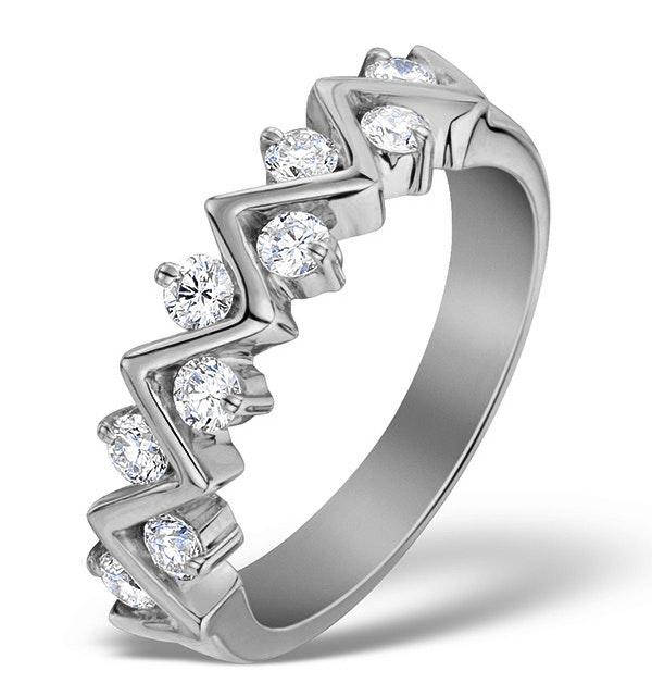 Diamond 0.50ct And Platinum Half Eternity Ring - S3471 - image 1