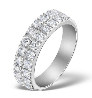 2 Row Diamond 1.00ct And Platinum Half Eternity Ring - S3482