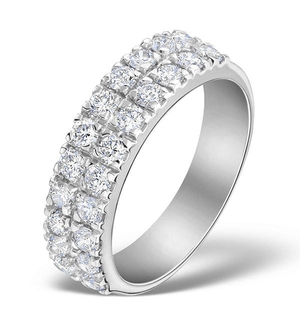 2 Row Diamond 1.00ct And Platinum Half Eternity Ring - S3482 - image 1