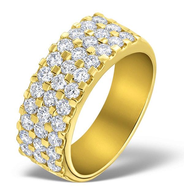 3 Row Diamond 1.50ct And 18K Gold Half Eternity Ring - N4490 - image 1
