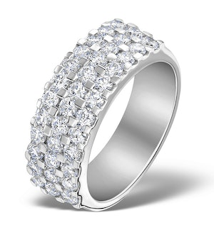 3 Row Diamond 1.50ct And 18K White Gold Half Eternity Ring - N4491