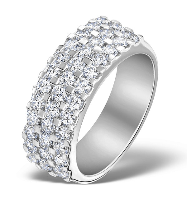 3 Row Diamond 1.50ct And Platinum Half Eternity Ring - S3484 - image 1
