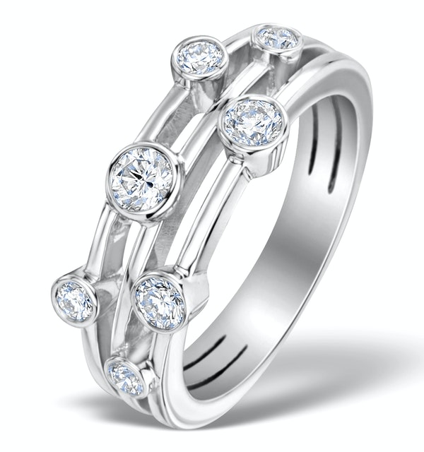 Rain Drops Diamond 0.50ct And Platinum Rubover Ring - image 1