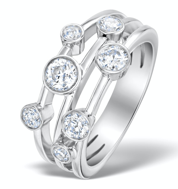 Rain Drops Diamond 1.00ct And 18K White Gold Rubover Ring - image 1