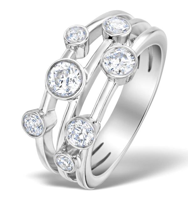 Rain Drops Diamond 1.00ct And Platinum Rubover Ring - image 1