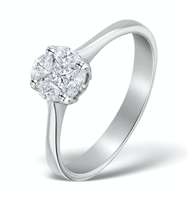 Galileo 1.00ct Look Diamond 0.38ct And 18K White Gold Ring - image 1