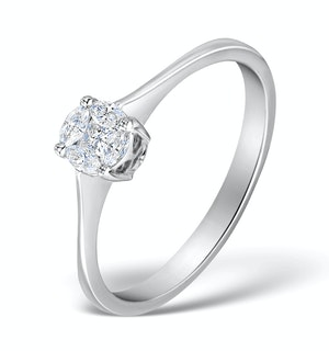 Galileo 0.50ct Look Diamond 0.17ct And 18K White Gold Ring