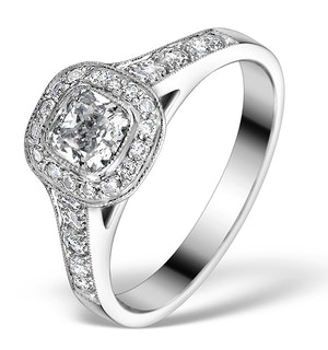 Halo Engagement Ring Alice 0.90ct H/SI Diamond in 18K White Gold