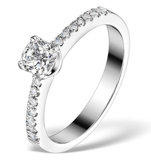 Sidestone Engagement Ring Valentina 0.65ct Diamonds 18K White Gold