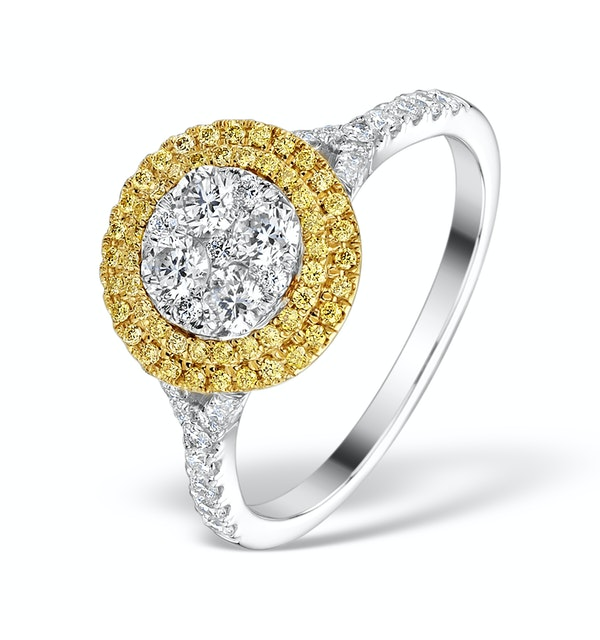 Halo Engagement Ring Arianna with 1ct of Yellow Diamonds in 18KW Gold - image 1