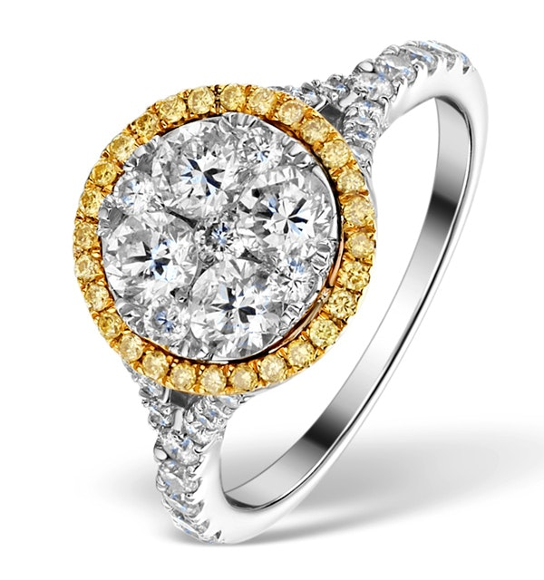 Halo Engagement Ring Alessia 1.50ct Yellow Diamond in 18K White Gold - image 1