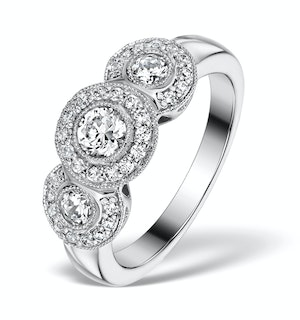 Halo Pave Ring - Celeste - 0.92ct of H/Si Diamonds in 18K White Gold