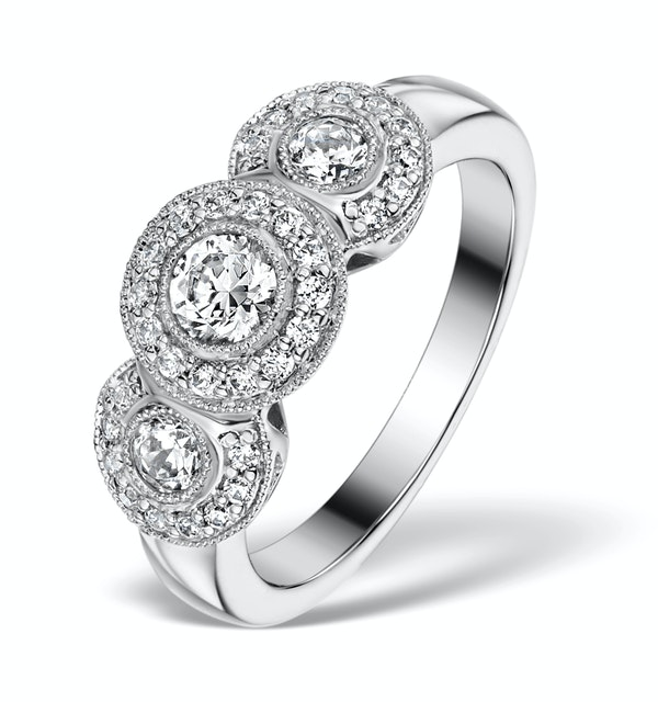 Halo Pave Ring - Celeste - 0.92ct of H/Si Diamonds in 18K White Gold - image 1