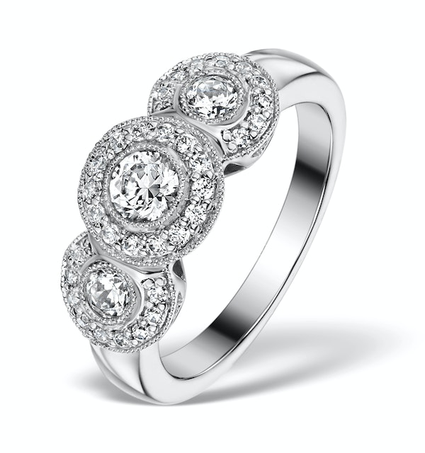 Halo Pave Ring - Celeste - 0.92ct of H/Si Diamonds in 18K White Gold - image 1