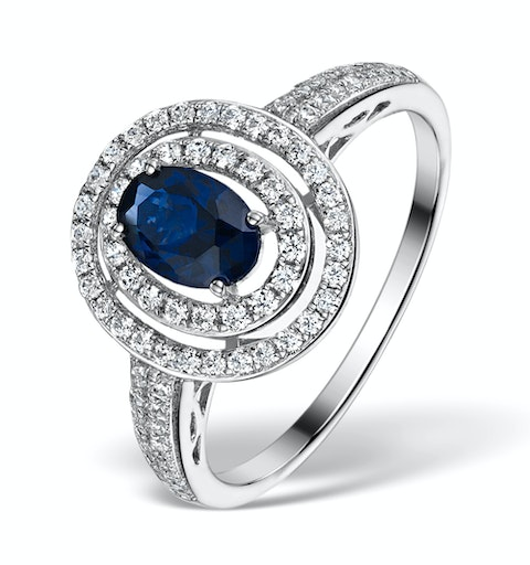 Sapphire Ring with a Diamond Halo 1ct in 18K White Gold N4523 - image 1