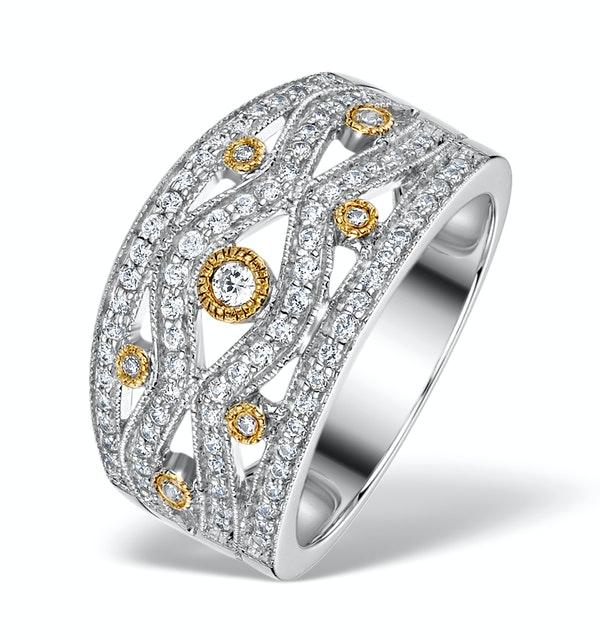 Wide Diamond Ring - Aspen - 0.41ct set in 18K White Gold N4526 - image 1