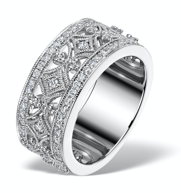 Vintage Wide Diamond Ring - Florence - 0.75ct 18K White Gold - N4528 - image 1
