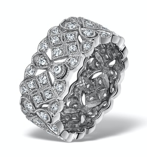 Wide Diamond Eternity Ring - ArtDeco - 1.02ct in 18K White Gold