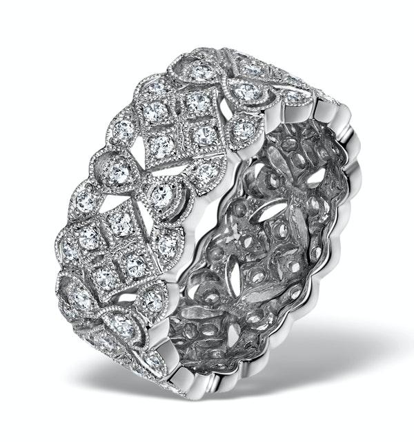 Wide Diamond Eternity Ring - ArtDeco - 1.02ct in 18K White Gold - image 1