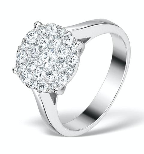 Diamond Galileo Ring 1CT Set in 18K White Gold - N4532Y - image 1