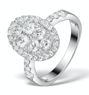 Diamond Galileo 2.00CT Oval Side Stone Ring 18K White Gold - N4534Y