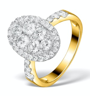 Diamond Galileo 2.03CT Oval Side Stone Ring in 18K Gold - N4534