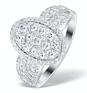 Diamond Galileo 1.50CT Oval Side Stone Ring in 18K White Gold - N4535Y