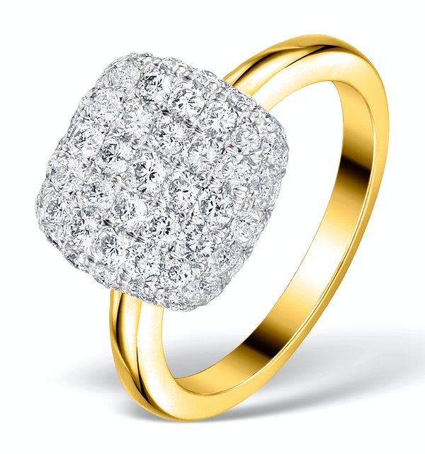 Diamond Pave Cushion Ring 1.25CT H/Si in 18K Gold Ring - N4537 - image 1