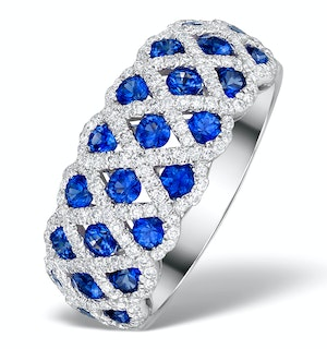 Sapphire 1.36CT  and Diamond Lattice Ring in 18K White Gold - N4539Y