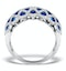 Sapphire 1.36CT  and Diamond Lattice Ring in 18K White Gold - N4539Y - image 2