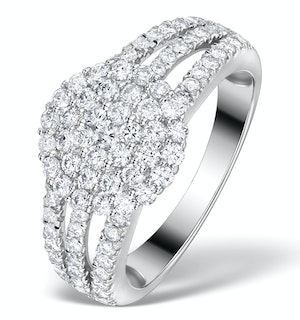 Diamond 3 Row Galileo 1.30CT Diamond 18K White Gold Ring - N4530Y