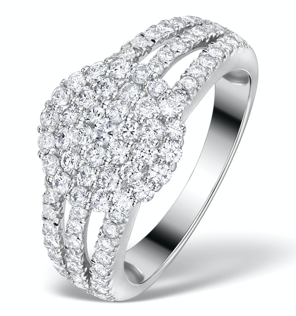 Diamond 3 Row Galileo 1.30CT Diamond 18K White Gold Ring - N4530Y - image 1