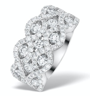 Diamond Weave 18K White Gold Ring  1.20CT H/Si - N4542Y
