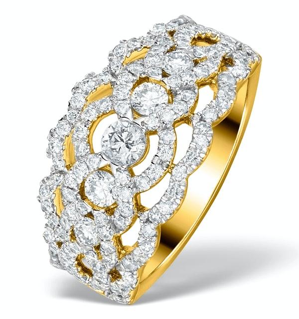 Diamond Art Deco 18K Gold Ring 1.25CT H/Si - N4544 - image 1