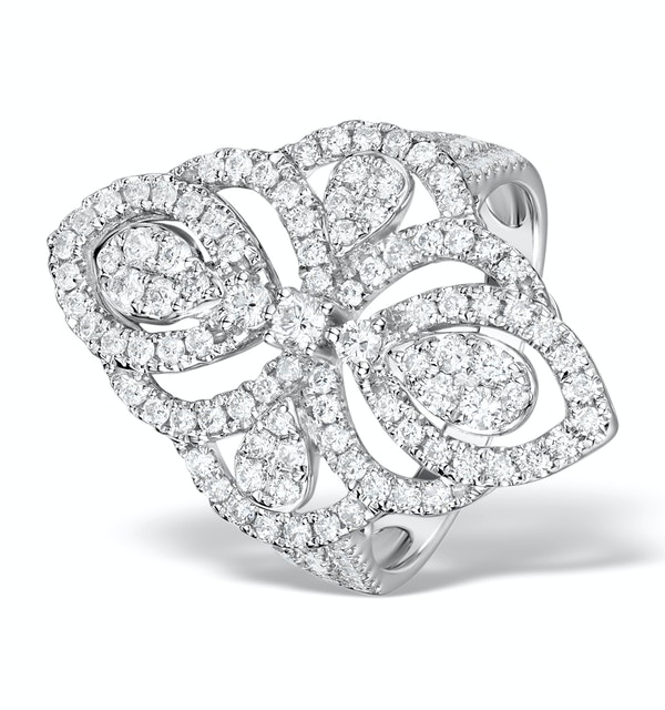Vintage Diamond Ring 1.75CT H/Si in 18K White Gold - N4547 - image 1