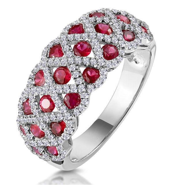 1ct Ruby and Diamond Lattice Ring in 18K White Gold - image 1