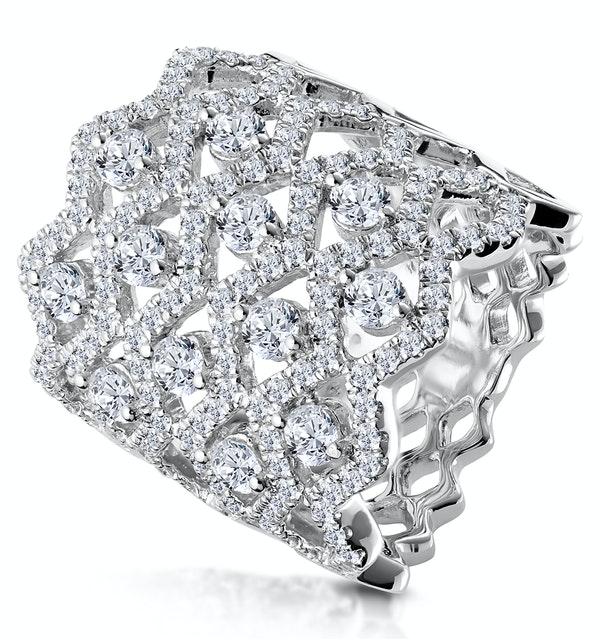 Diamond Lattice Ring 2.35ct H/Si Quality Set in 18K White Gold - image 1