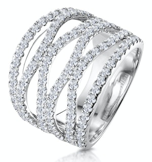 Diamond Tiara Band Ring 2.00ct H/Si Set in 18K White Gold