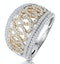 Diamond Trellis Ring 0.75ct Pave Set in 18K Two Tone Gold - image 1
