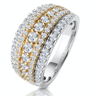 Diamond Alexis Ring with 1.5ct H/Si Set in 18K Two Tone Gold