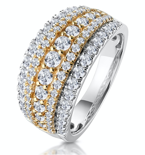 Diamond Alexis Ring with 1.5ct H/Si Set in 18K Two Tone Gold - image 1