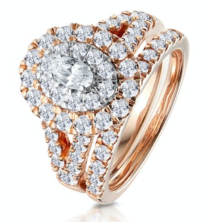 2ct Diamond Ovals Halo Bridal Set Rings in 18K Rose Gold