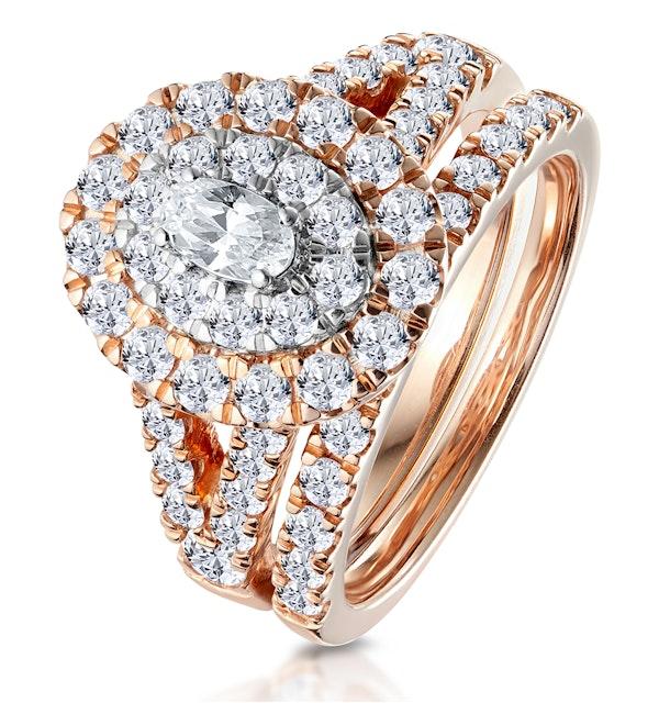 2ct Diamond Ovals Halo Bridal Set Rings in 18K Rose Gold - image 1